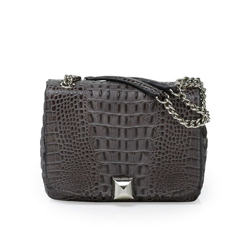 North grey croco silver bag
