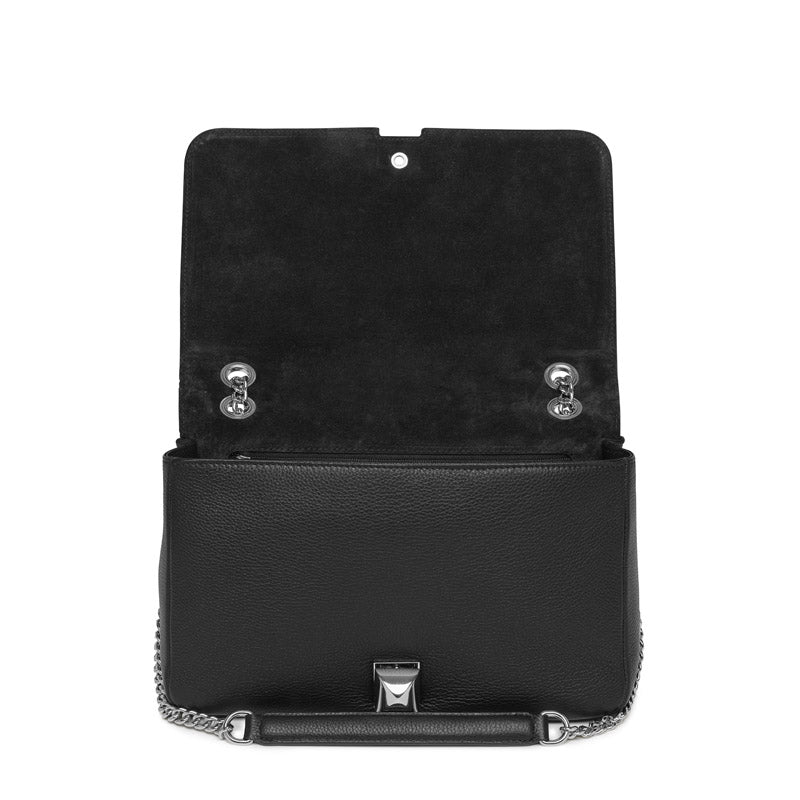 Naomi black textured-leather silver bag