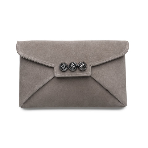 Mer Taupe suede gunmetal clutch