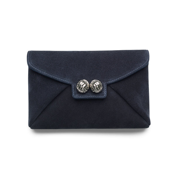 Heather blue suede silver clutch - Leowulff