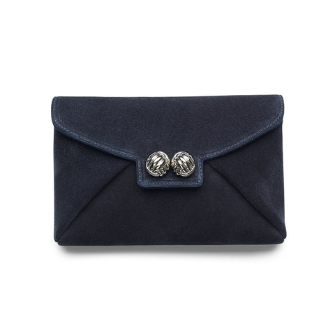 Heather blue suede silver clutch