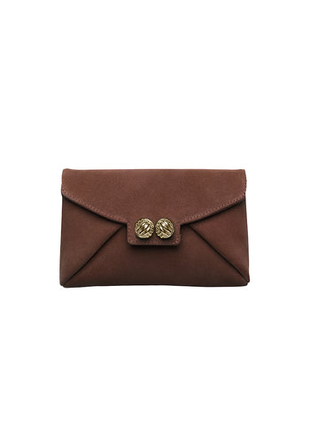 Heather brown gold clutch