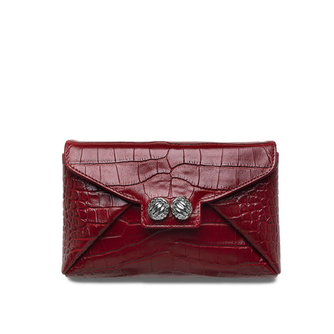 Heather red croco silver clutch