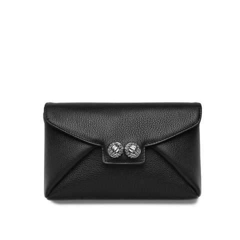 Heather black textured-leather silver clutch