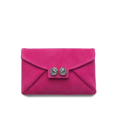 Heather pink fuscia silver clutch
