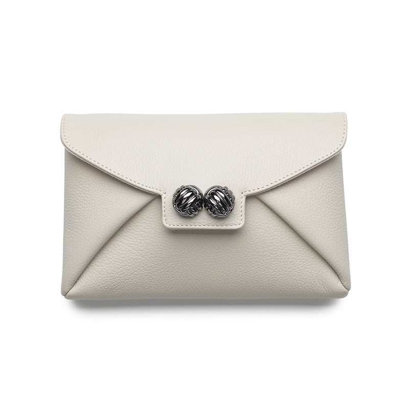 Heather ivory gunmetal clutch - Leowulff
