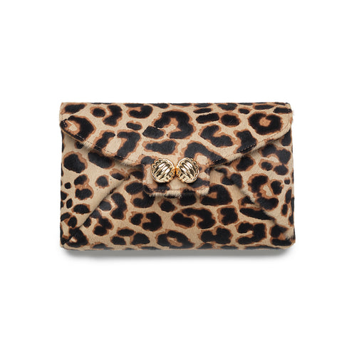 Heather leopard calf hair clutch