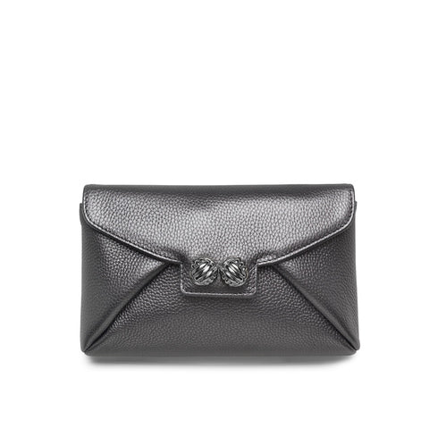 Heather anthracite silver clutch