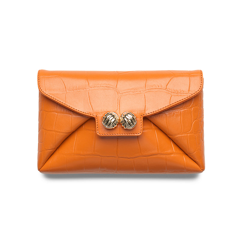 Heather orange croco gold clutch - Leowulff