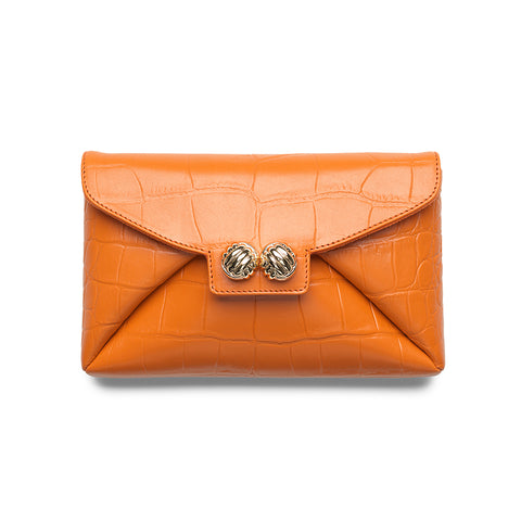 Heather orange croco gold clutch