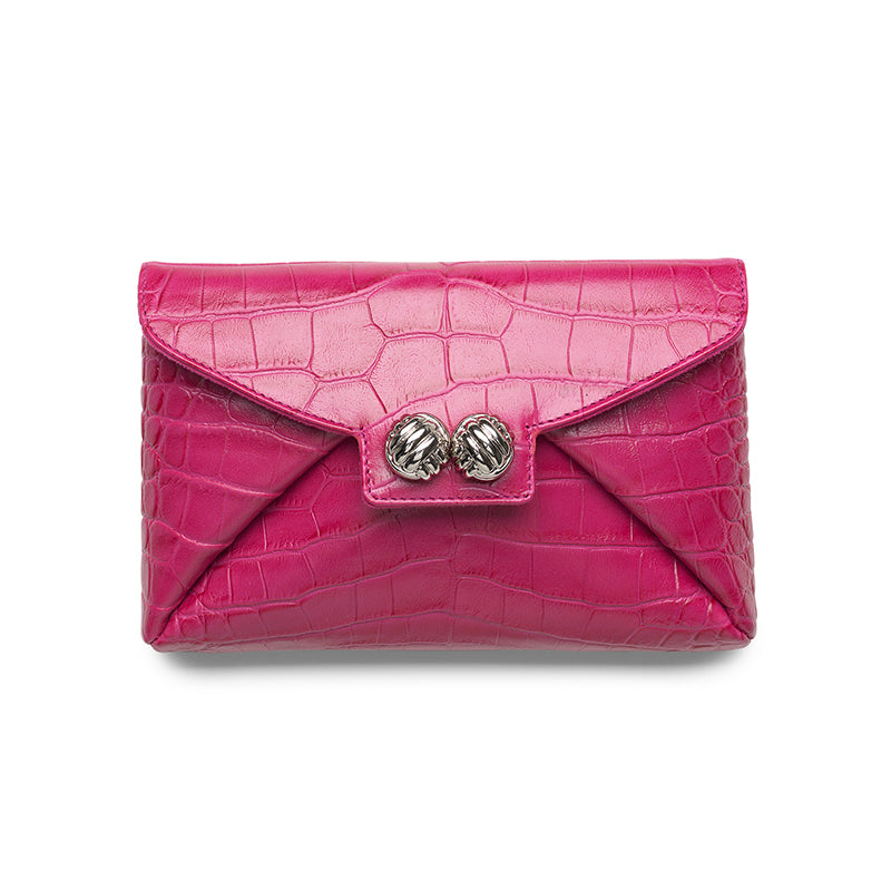 Heather pink croco silver clutch - Leowulff