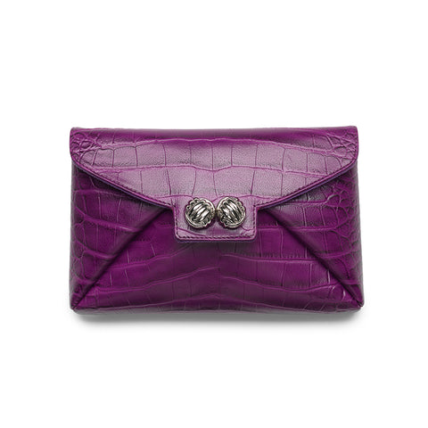 Heather purple croco silver clutch