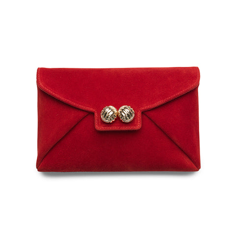 Heather red suede gold clutch