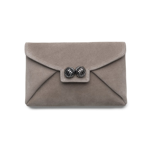 Heather taupe gunmetal clutch