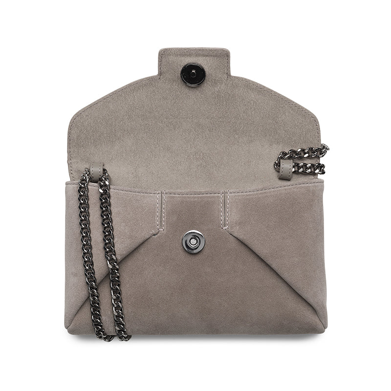 Heather taupe gunmetal clutch - Leowulff