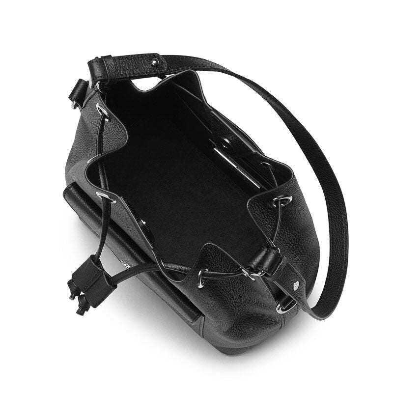Morgan black leather bucket bag - Leowulff