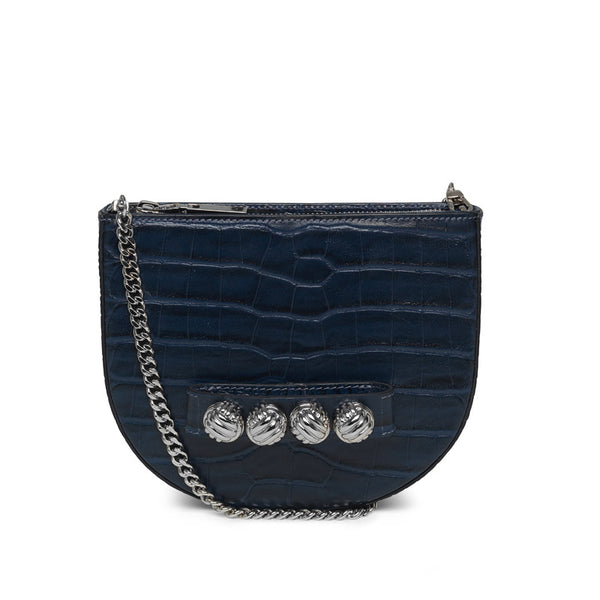 Hilma blue croco silver bag