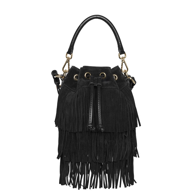 Farah small fringe black gold bag - Leowulff