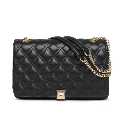 Flora quilted black gold bag