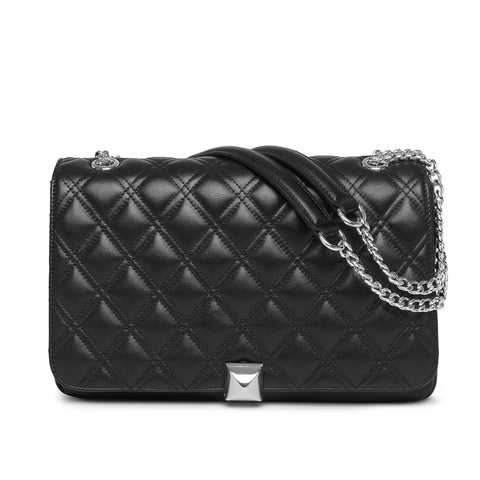 Flora quilted black silver bag