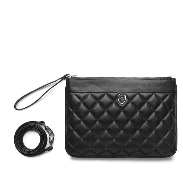 Poppy quilted black silver bag