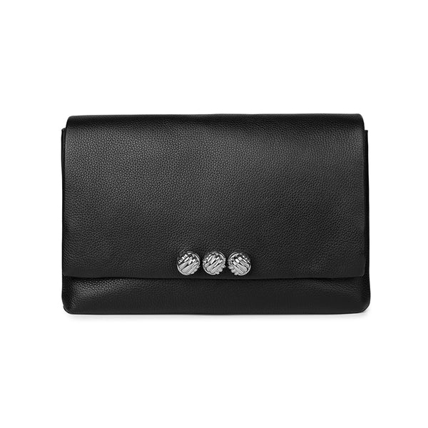 Dane black medium leather silver bag - Leowulff