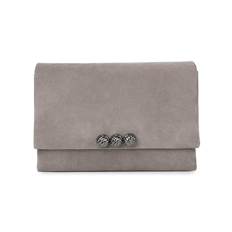 Dane taupe medium suede bag - Leowulff