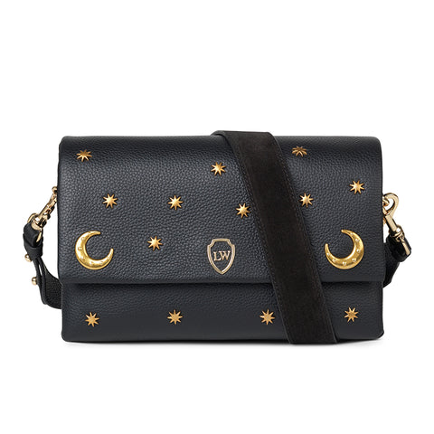 Moon black leather bag