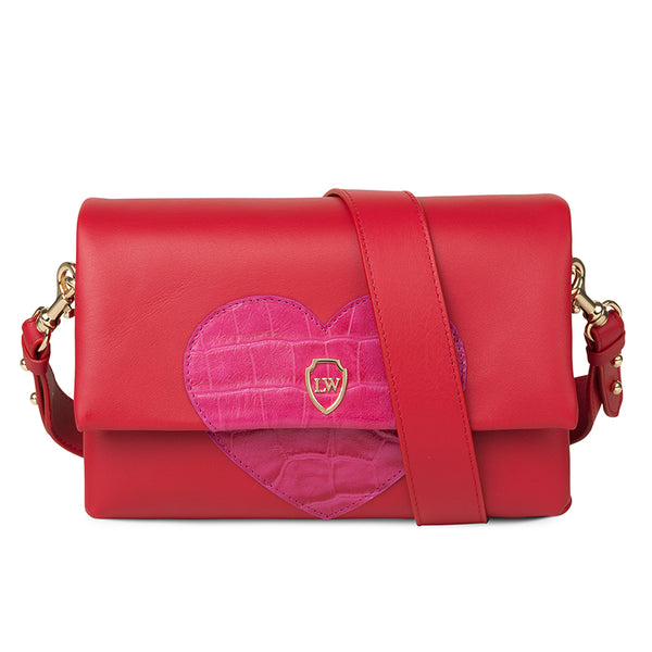 Hearty red pink leather bag - Leowulff