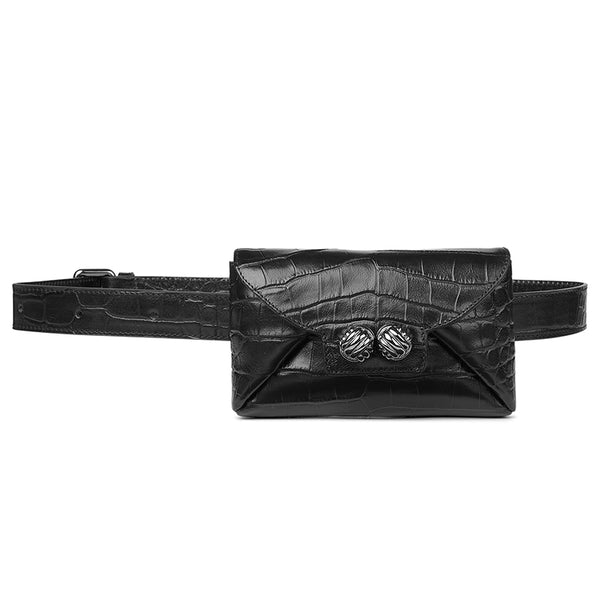 Tiny black croco belt bag - Leowulff