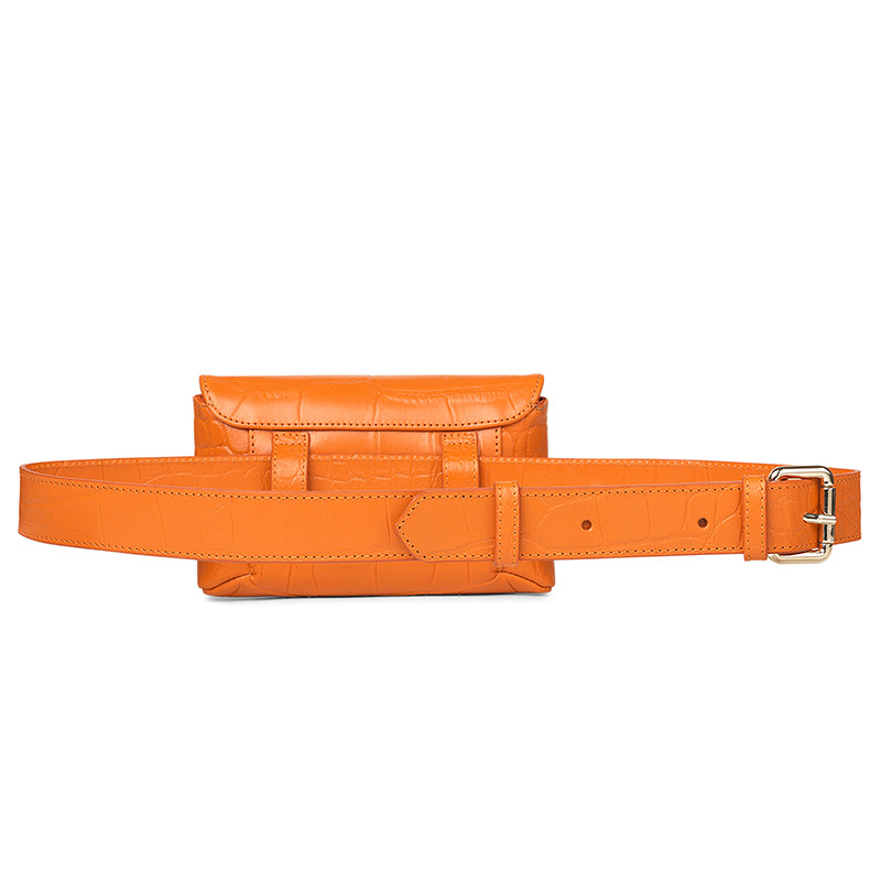 Tiny orange croco belt bag - Leowulff
