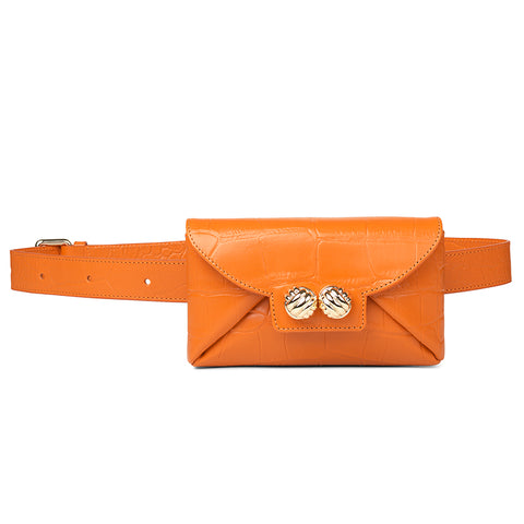 Tiny orange croco belt bag