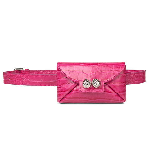 Tiny pink croco belt bag