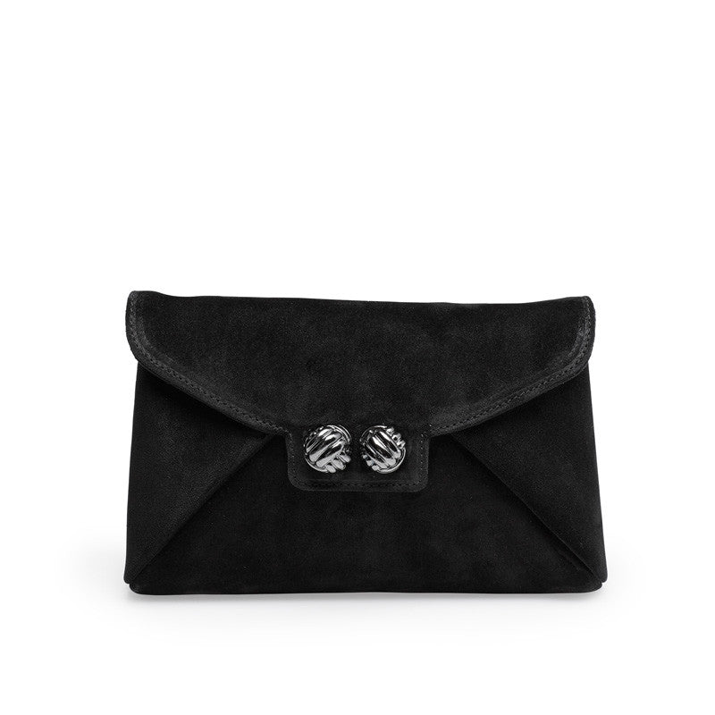 Heather black gunmetal clutch - Leowulff