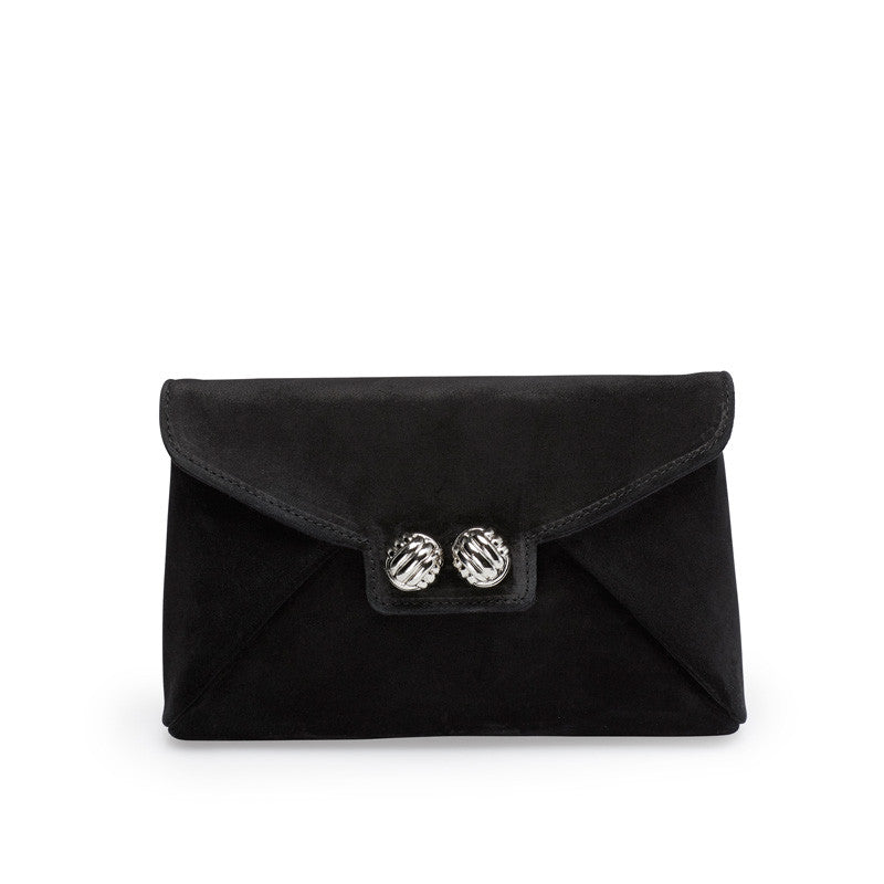 Heather black silver clutch