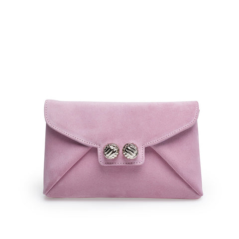 Heather pink silver clutch
