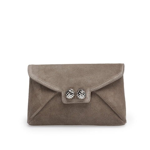 Heather taupe silver clutch