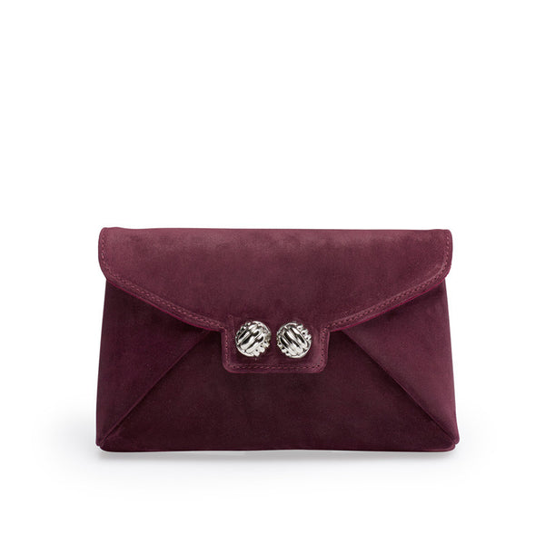 Heather wine silver clutch