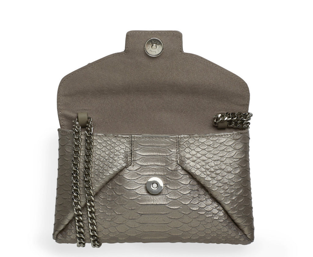 Mercer anthracite silver clutch