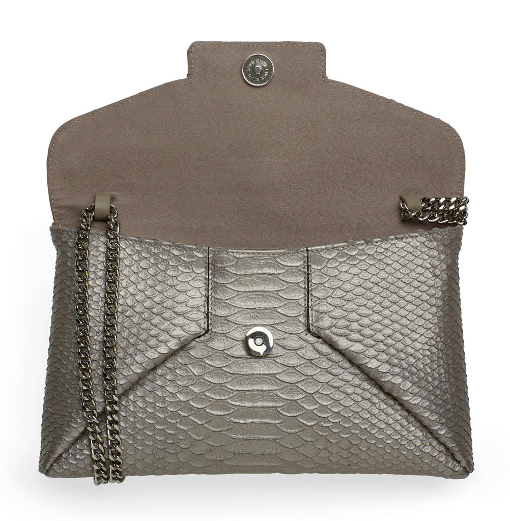 Mer anthracite silver clutch