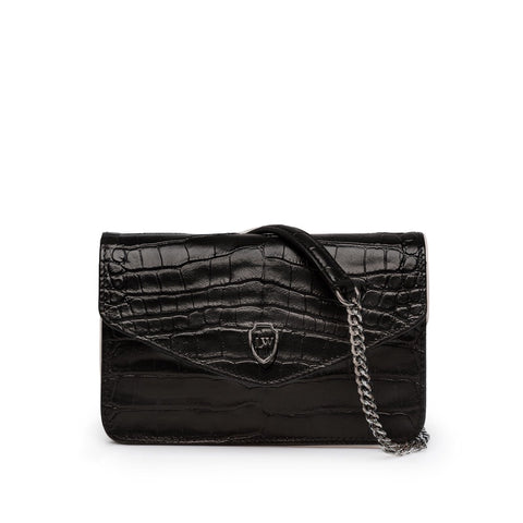 Havva black croco silver bag