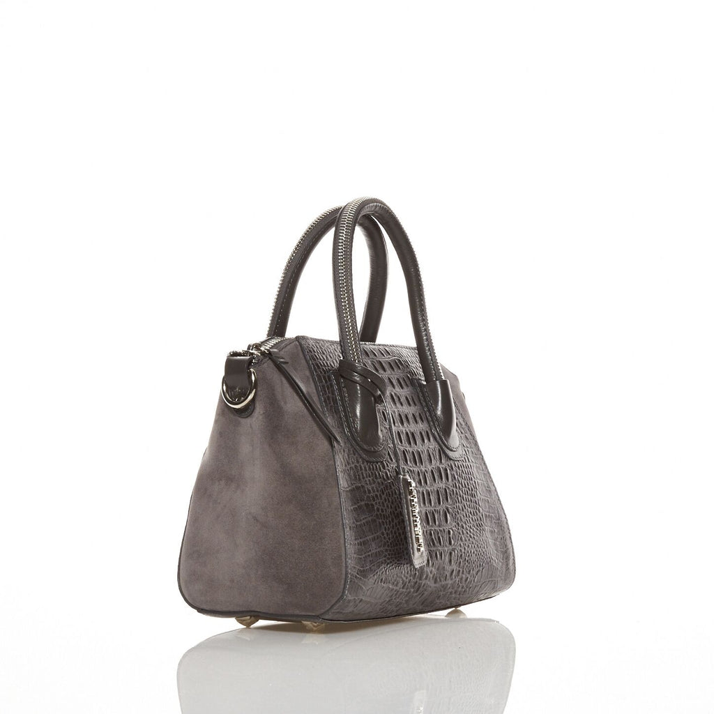 Caiman grey embossed bag - Leowulff