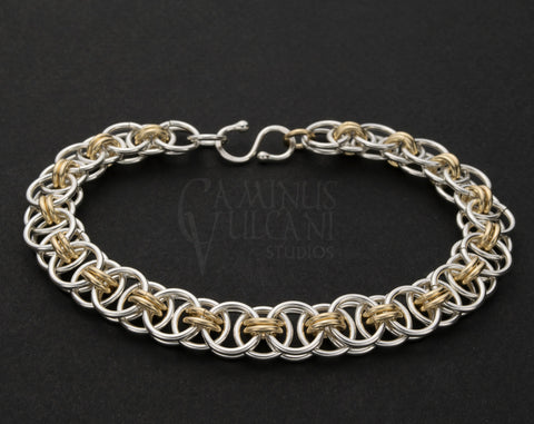 Argentium Sterling and 14K Yellow Gold Helm Weave Bracelet