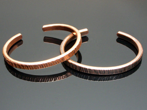 Forged Copper Cuff Bracelet (Linear Texture)