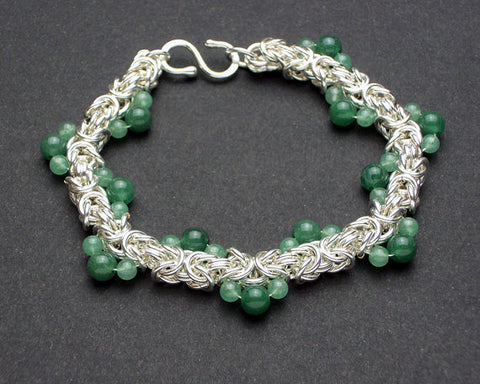 Ocean Wave Byzantine Bracelet in Silver-Filled with Aventurine