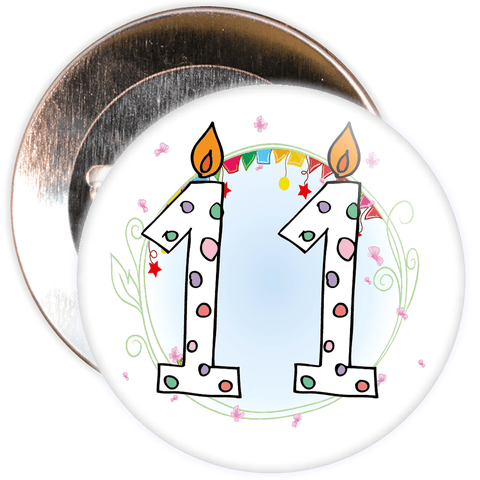 11th Birthday Badge with Candles and Blue Background