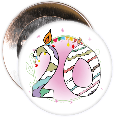20th Birthday Badge with Candles and Pink Background