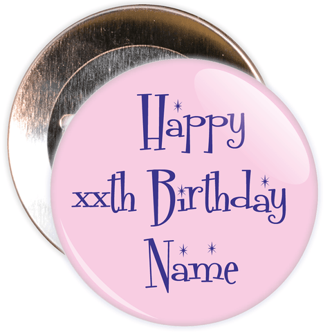 Pink Customisable Birthday Badge