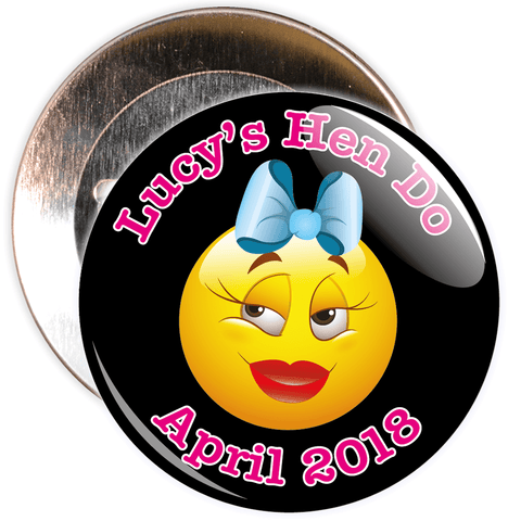 Customisable Emoticon Hen Night Badge