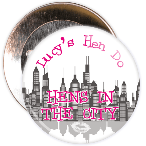 Customisable White Hen's in the City Hen Night Badge